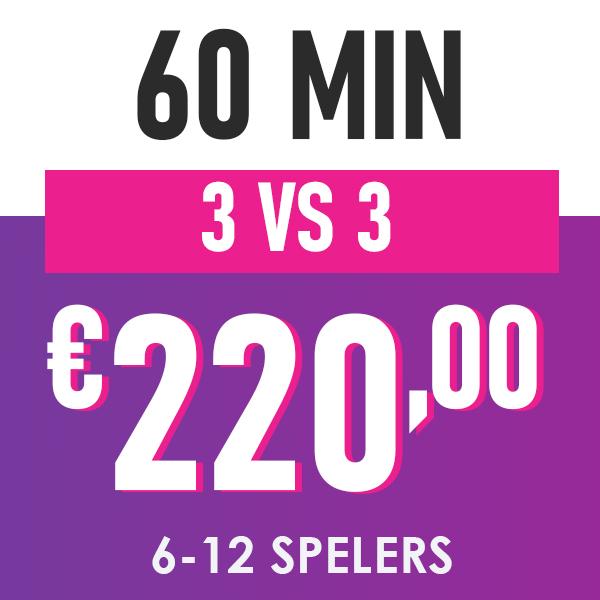 60 minuten, 3 tegen 3, 220 euro, 6 tot 12 spelers