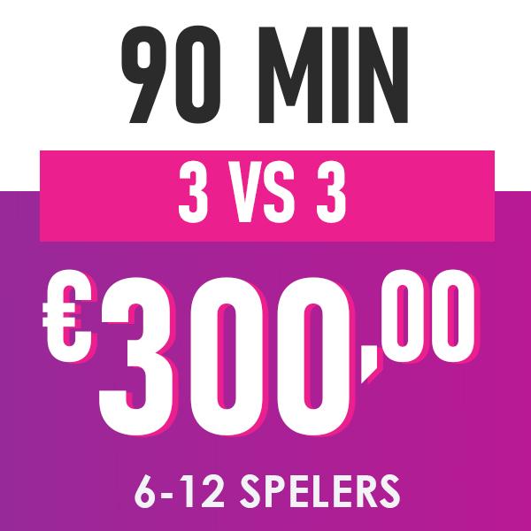 90 minuten, 3 tegen 3, 300 euro, 6 tot 12 spelers